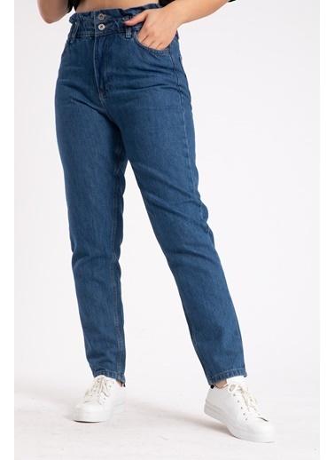 Madame Sare  Kadın Mavi Mom Jean Pantolon Mavi